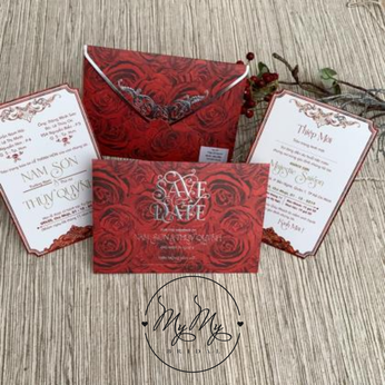 Thiêp cưới thiết kế màu đỏ có hình hoa hồng in 3D - DQ2021