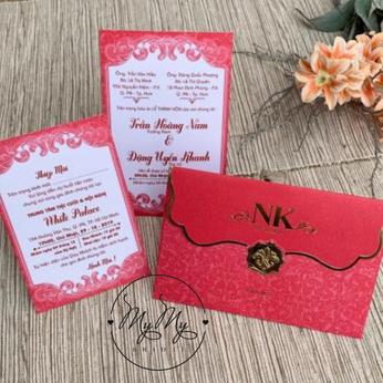 Thiêp cưới thiết kế màu đỏ thiết kế đơn giản - thiệp cưới My My