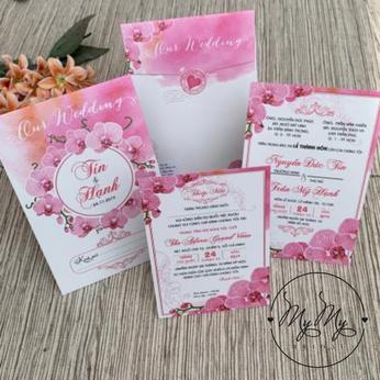 Thiêp cưới thiết kế hoa lan màu hồng phấn - DQ2011