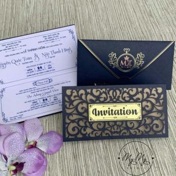 Thiêp cưới thiết kế  xanh dương hoa văn cắt mêm mại - DQ2009
