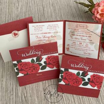 Thiêp cưới my my thiết kế đỏ - DQ2032
