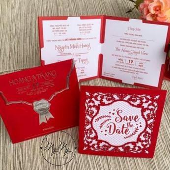 Thiêp cưới đỏ nhung thiết kế cắt hoa văn - DQ2035