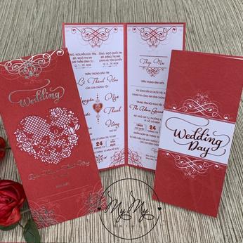 Thiêp cưới đỏ thiết kế đơn giản -  DQ2007