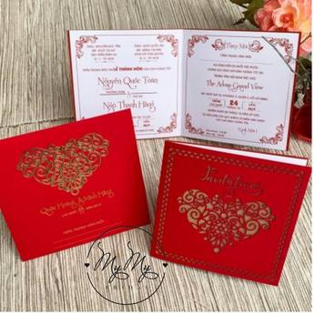 Thiêp cưới đỏ thiết kế cắt giấy hình trái tim - DQ2034