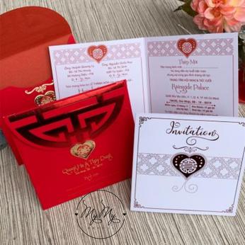 Thiêp cưới đỏ thiết kế dạng vuông - DQ2033