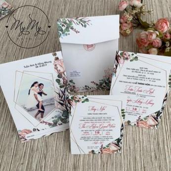 Thiêp cưới thiết kế   in hình cô dâu chú rể - thiệp cưới My My