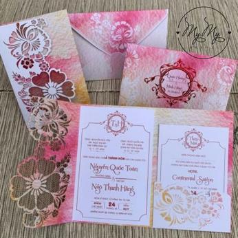 Thiêp cưới màu hồng cắt hoa - DQ2024