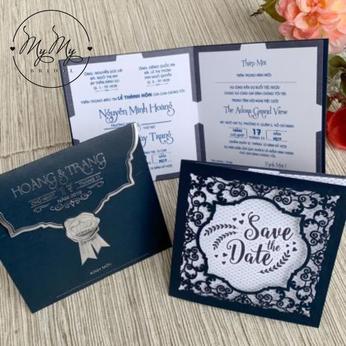 Thiêp cưới xanh dương hoa văn cắt kỹ thuật - DQ2035