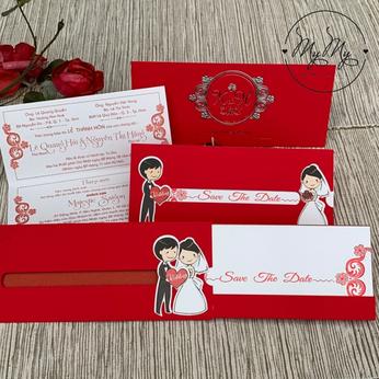 Thiêp cưới đỏ thiết kế icon cô dâu chú rể  -  DQ2008