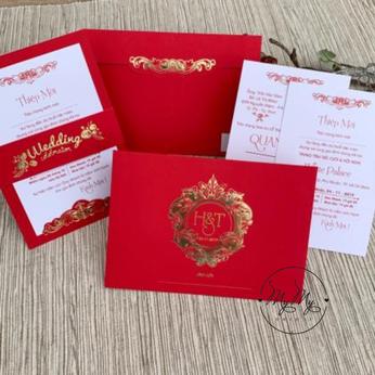 Thiêp cưới my my thiết kế đỏ hoa văn vàng