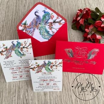 Thiêp cưới thiết kế đỏ thiết kế  đôi công - DQ2013