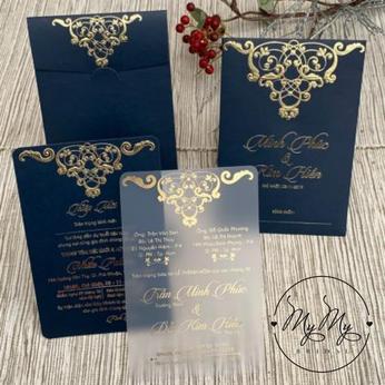 Thiêp cưới thiết kế  xanh dương hoan văn nhũ vàng  - DQ2019
