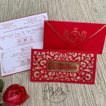 Thiêp cưới my my thiết kế đỏ hoa văn cắt lỗ