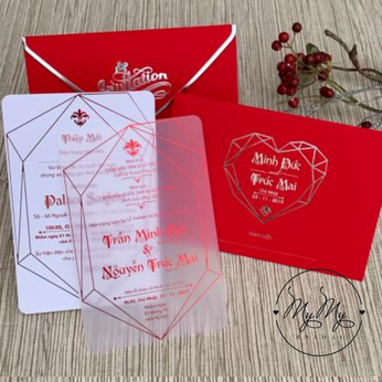 Thiêp cưới my my thiết kế đỏ hoa  văn trái tim
