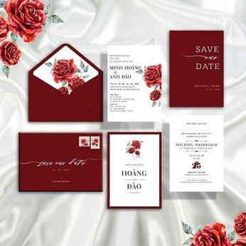 Thiệp cưới màu đỏ mận
