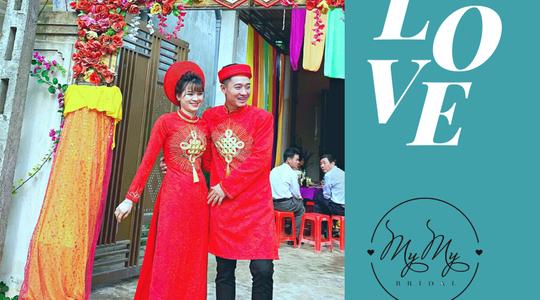 Cô dâu chú rễ với áo dài cặp màu đỏ