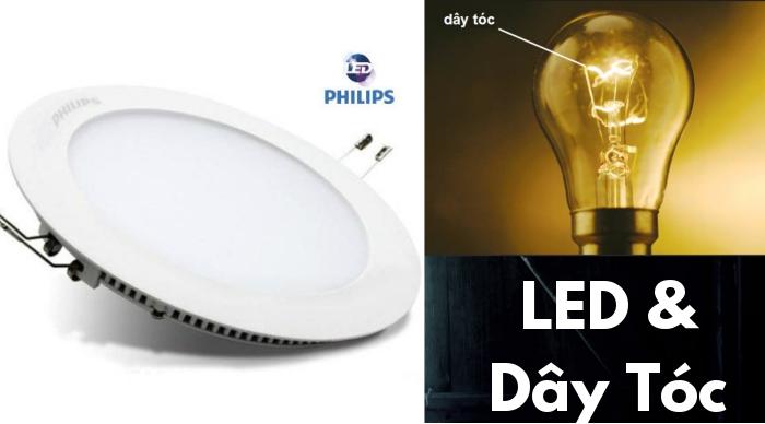 So sánh giữa đèn LED âm trần Phiplips và đèn dây tóc