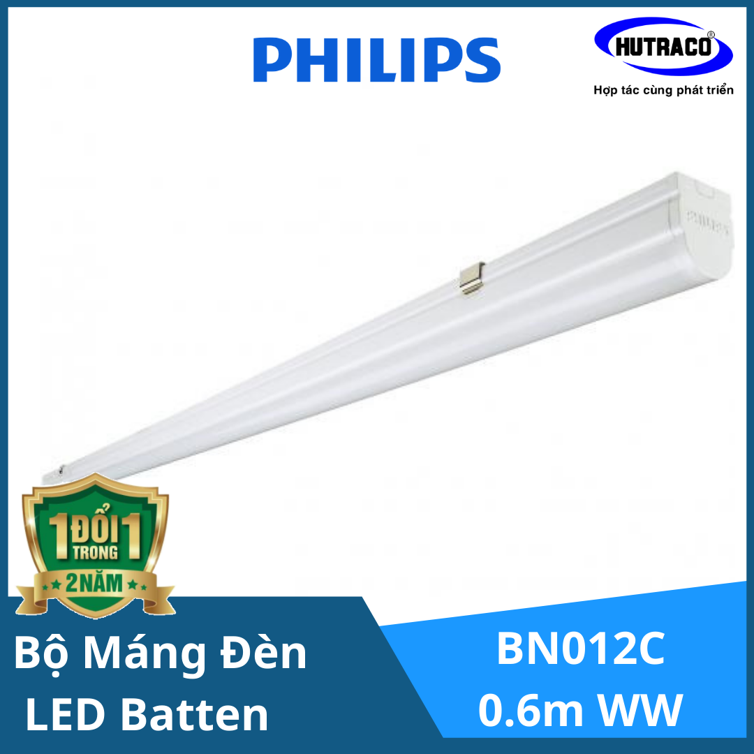 Bộ máng đèn LED Batten T8 Philips BN012C LED10/WW L600 TH G2,  0.6m