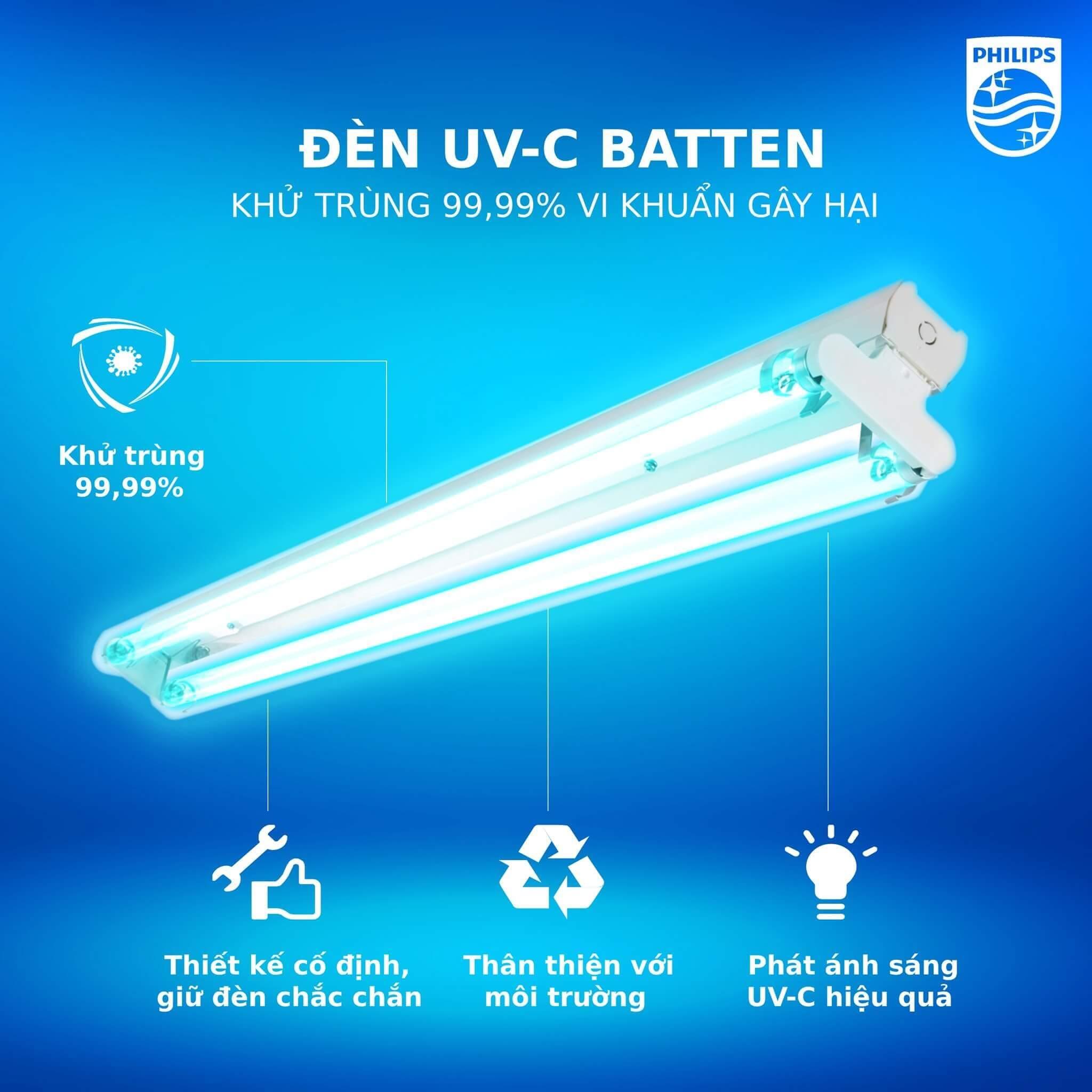 Bộ máng đèn khử trùng tia cực tím UV-C Philips 2xTUV 36W SLV/6