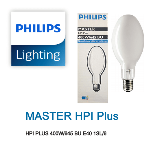 Bóng đèn cao áp Philips Metal Halide MASTER HPI Plus 400W/645 BU E40 1SL/6