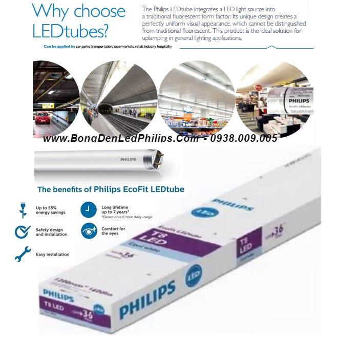 Bóng đèn Led túyp 1m2 Philips EcoFit LEDtube 18W/765 T8