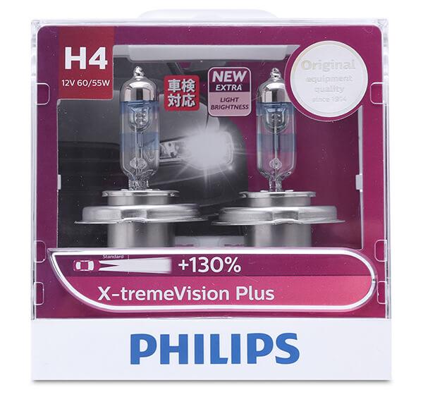 Bóng đèn pha xe hơi xe ô tô Philips Halogen H4 12342 XV+ 12V 60/55W P43T S2 tăng sáng 130%, sáng vàng 3700K