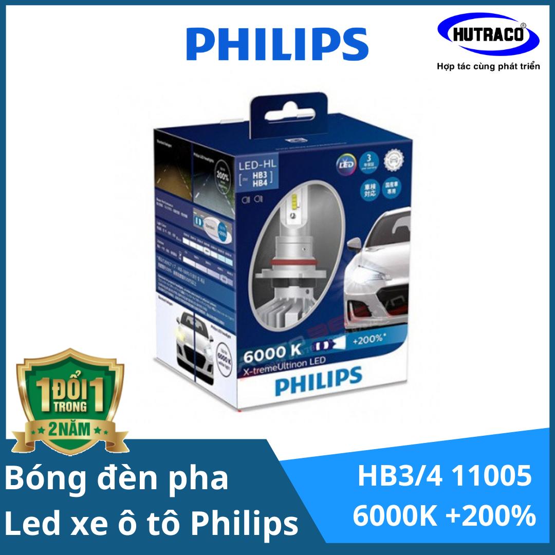 HB3/4 11005 600K +200% - Bóng đèn pha Led xe ô tô/ xe hơi Philips X-tremeUltinon LED HB3/4 11005 6000K tăng sáng 200%