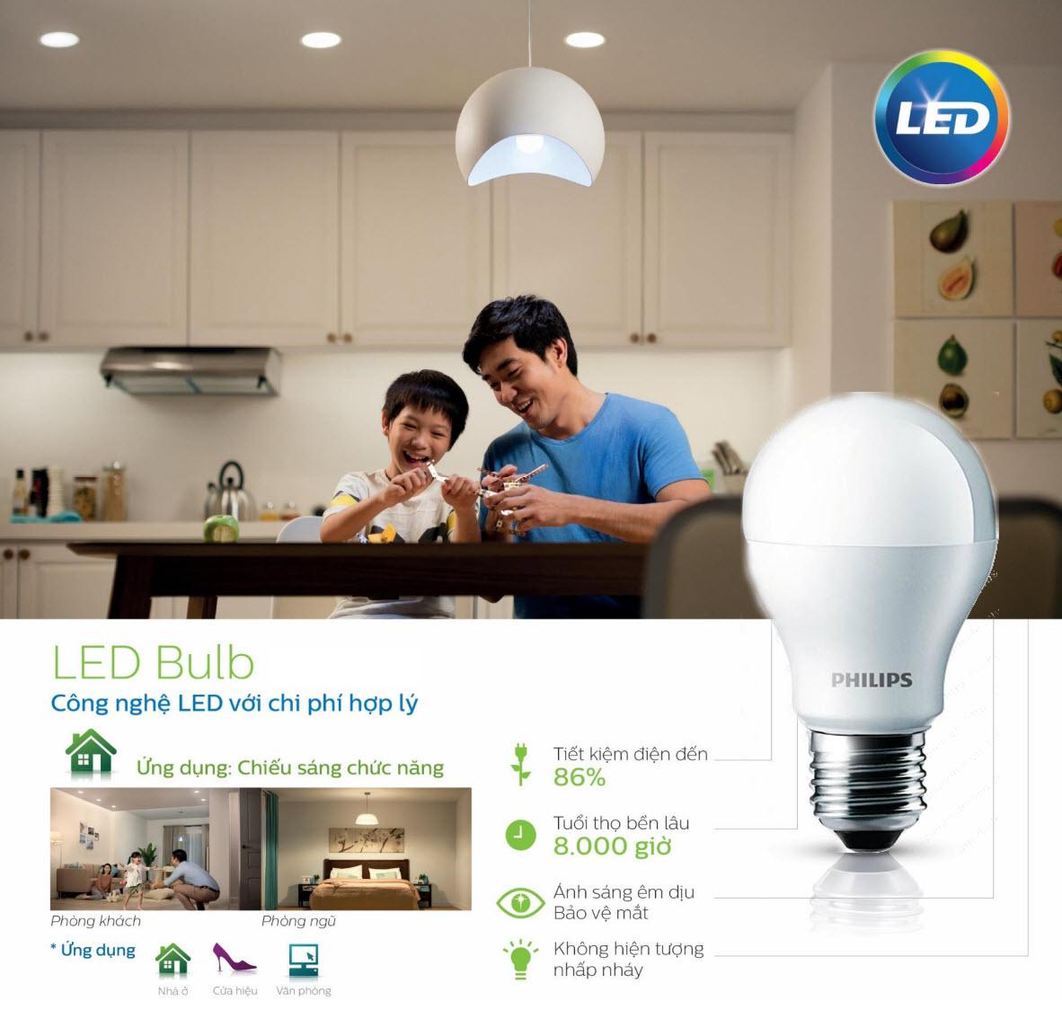 Bóng đèn Led Bulb Philips 12W 3000/6500K E27 230V A60