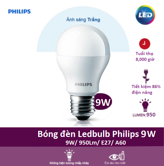 Bóng đèn Led Bulb Philips 9W 6500K E27 230V A60