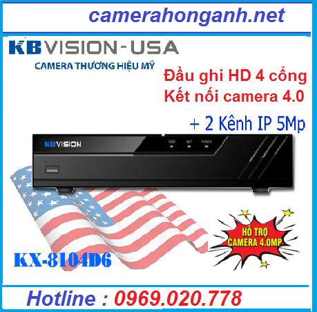 Đầu ghi hình 4 kênhHD 5 in 1 KBVISION KX-8104D6 + 2 kênh IP