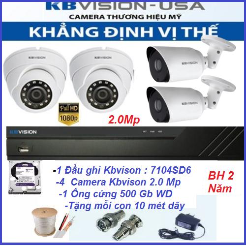 Trọn bộ 4 camera kbvison 2.0 MP Hình ảnh Full HD, Bảo hành 2 năm