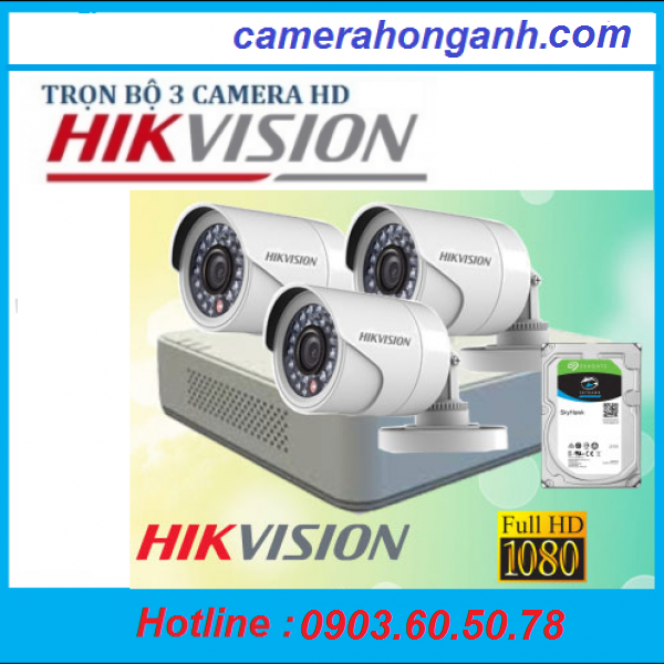 Trọn bộ 3 camera Hikvison