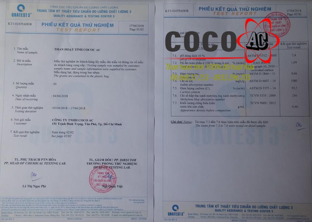 Kiểm định chất lượng than hoạt tính COCO AC