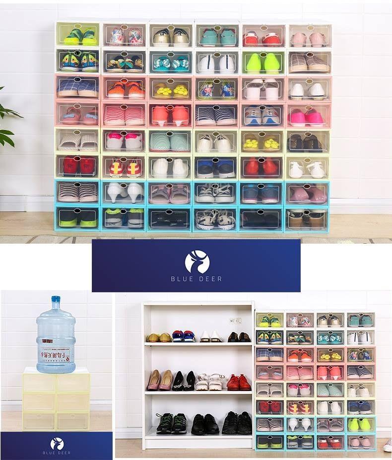 Hộp nhựa đựng giày trong suốt viền xanh dương