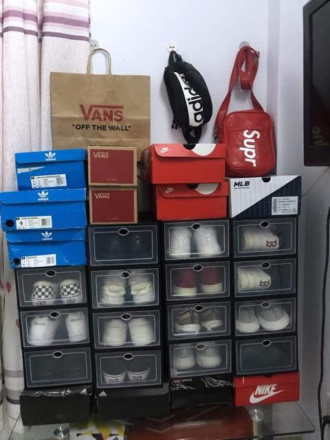 Hộp nhựa đựng giày nắp trong suốt Full Đen