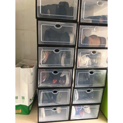 Hộp nhựa đựng giày trong suốt viền đen