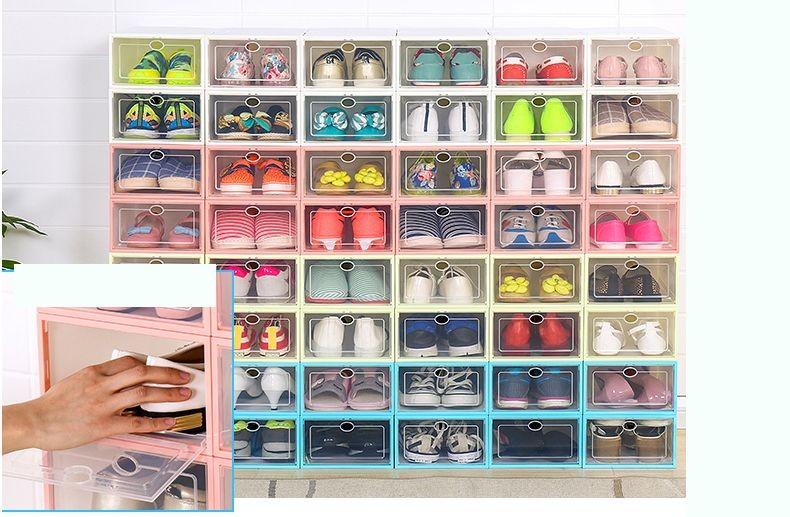 Hộp nhựa đựng giày dép Size Nữ nắp trong suốt 4 màu - Blue Deer