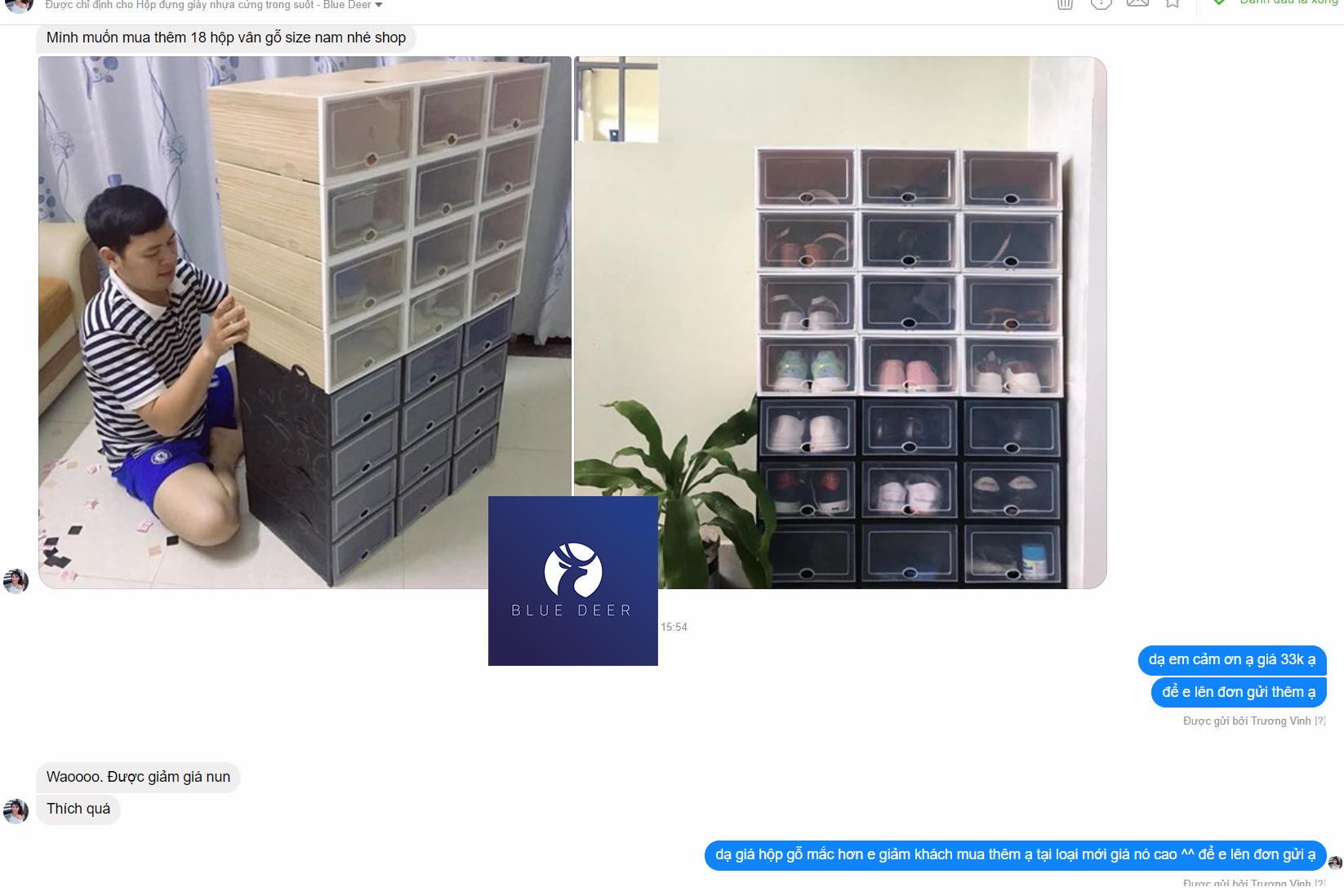 Combo 15 hộp nhựa đựng giày nhựa cứng trong suốt - 495K/ 15 box - Blue Deer