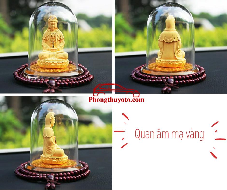 Tượng Quan âm Bồ Tát Mạ Vàng ngồi trên đài sen