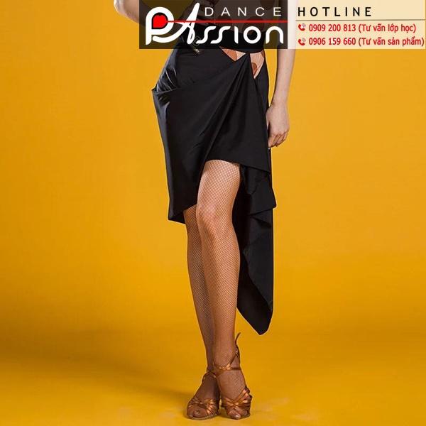 Chân váy Dancebaby vải thun màu đen, tà bắt chéo thiết kế độc quyền
