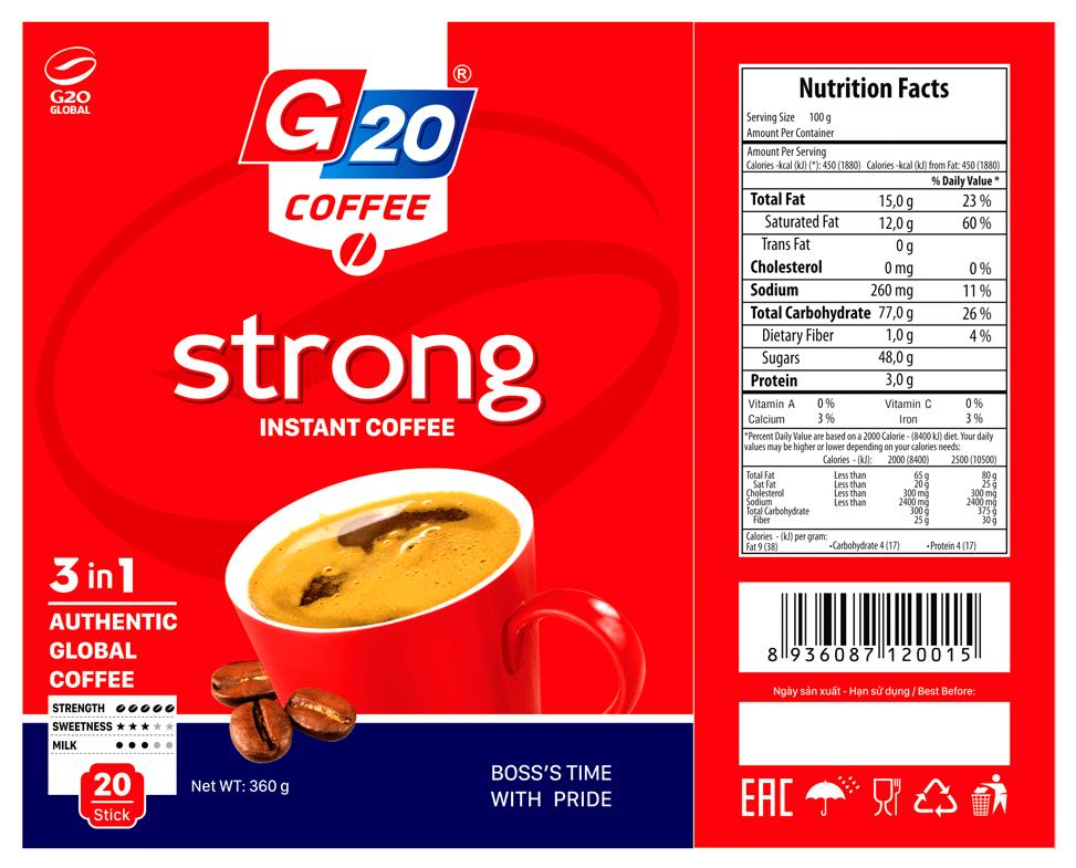 Cà phê hòa tan 3 in 1 - Gu Mạnh