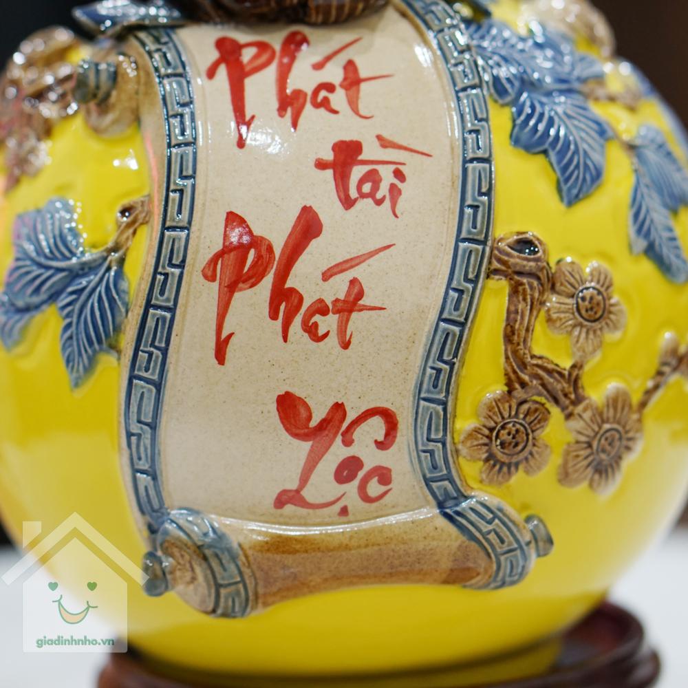Bình Hút Lộc Size 22 - Đế Gỗ Hương