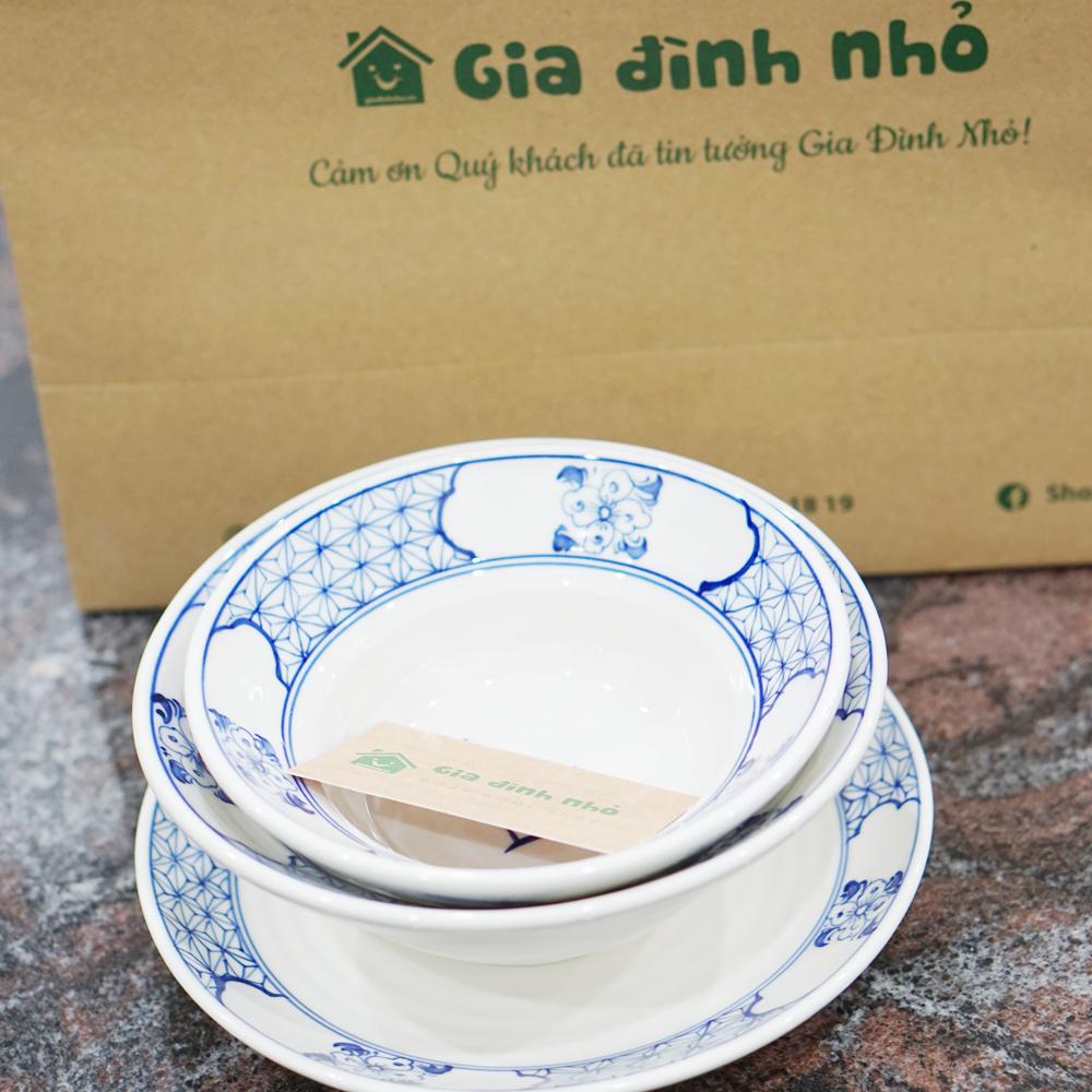 Bộ Bát Đĩa Men Lam Hoa Chanh