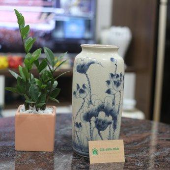 Lọ Hoa Men Rạn Vẽ Sen Dáng Phích (~28cm)