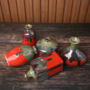 Set Lọ Hoa Mini Men Hỏa Biến Đỏ