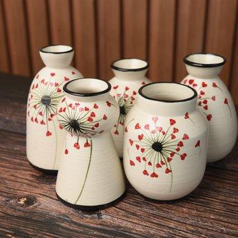 Set Lọ Hoa Mini Men Mát Hoa Đỏ