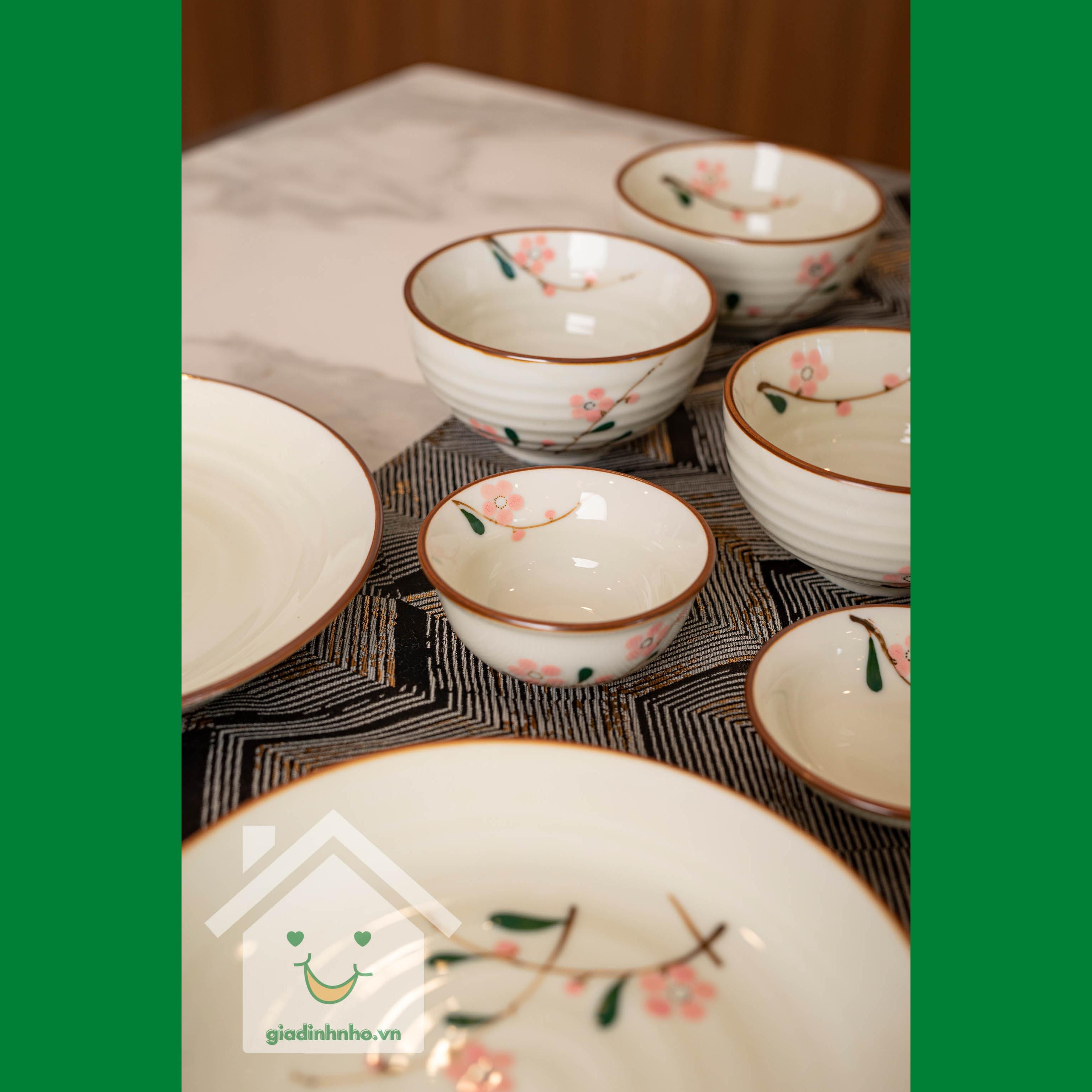 Bộ bát đĩa hoa đào hồng
