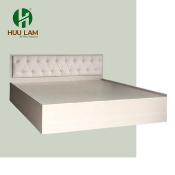 Giường ngủ gỗ Mdf melamin bọc nệm kem màu vân lim MS240