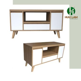 Kệ tivi nhỏ gọn màu gỗ phối trắng HLTV-034