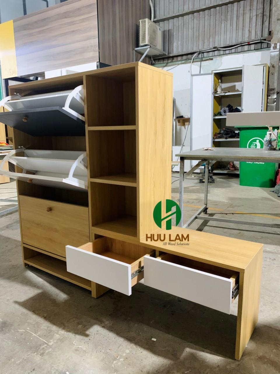 Tủ giày thông minh có ghế ngồi cho phòng khách NTHL-TG016